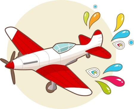 Cartoon vintage airplane with patterns