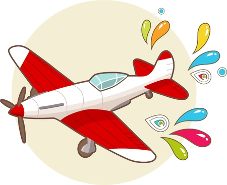 Cartoon vintage airplane with patterns