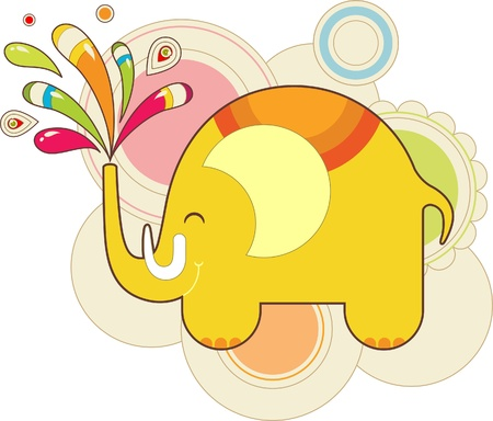 colorful toy elephant with patterns Vector