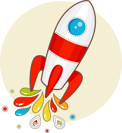 cartoon space rocket with patterns Illustration