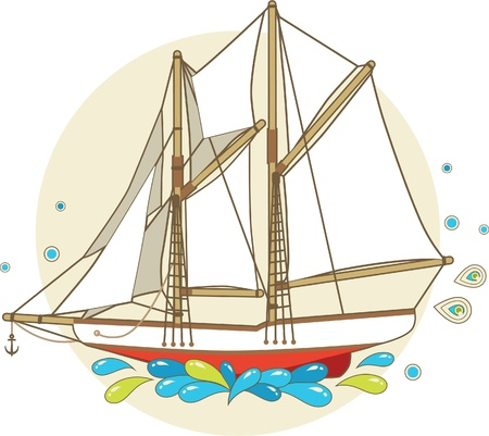 Cartoon sailing ship with patterns