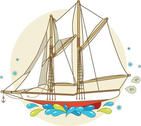 Cartoon sailing ship with patterns