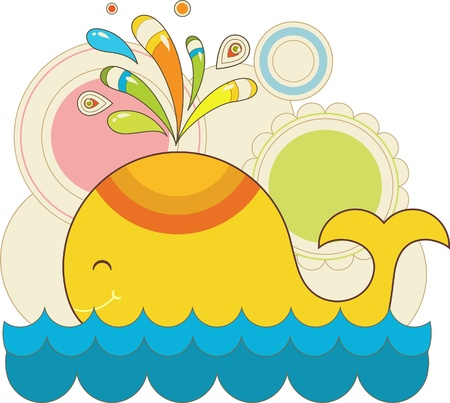 colorful toy whale with patterns Illustration