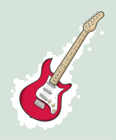 Stylized electric guitar in pink color