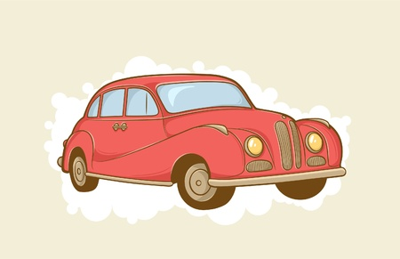 vector illustration of red retro car