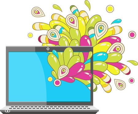 Abstract graphics coming out from a laptop Stock Vector - 10203836