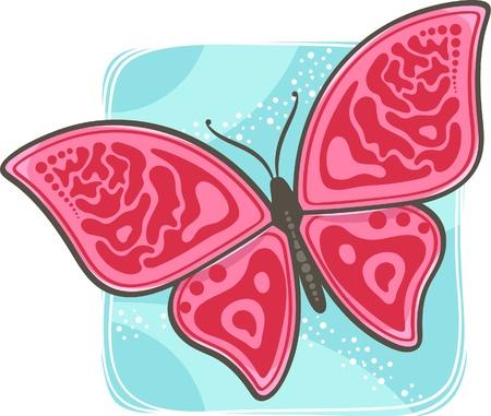 color in: Vectores decorativos de mariposas en color rosa brillante
