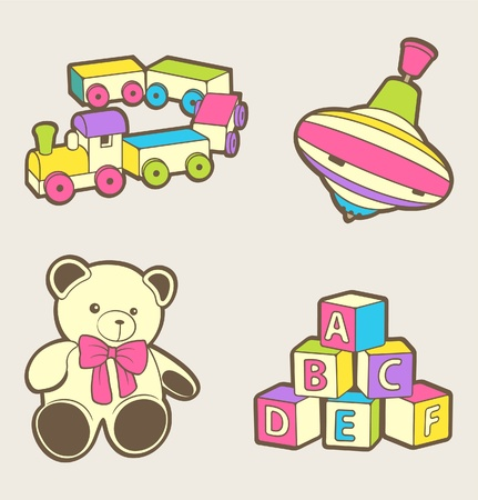 baby illustration: A set of cute baby toys
