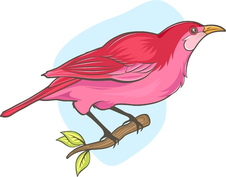 illustration of cute pink bird sitting on branch