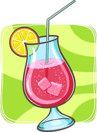 cocktail de fruits: illustration de cocktail tropical dans le verre