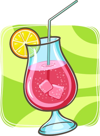 illustration of tropical cocktail in glass