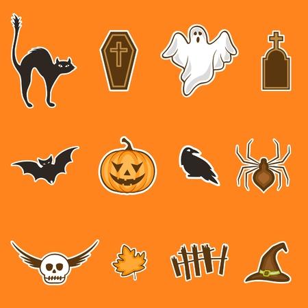12 halloween scary cartoons, icon set Illustration