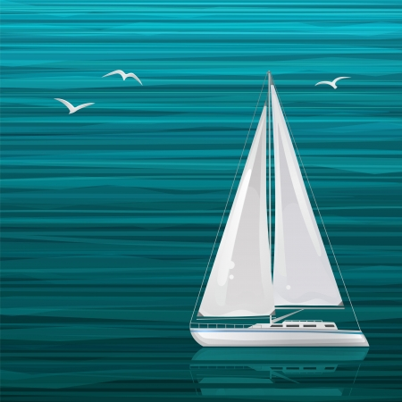 Sailing boat on the sea Illustration
