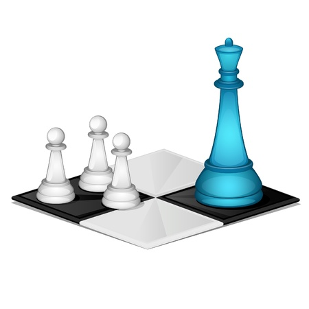 chess queen with pawns