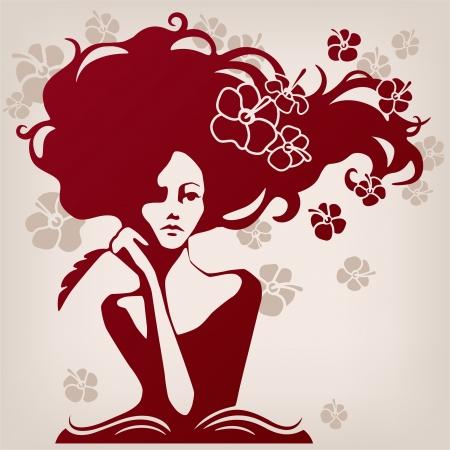 vrouw op zoek nadenkend en komt met gedichten Stock Illustratie