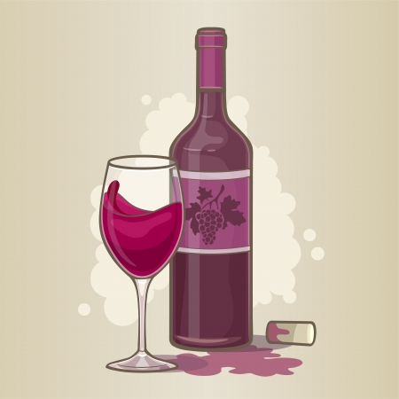 Red wine bottle with glass Vector