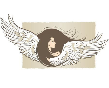 illustration of a beautiful woman with angel wings
