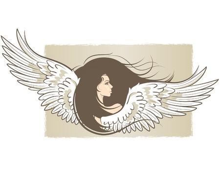 ali angelo: illustrazione di una bella donna con le ali di angelo Vettoriali