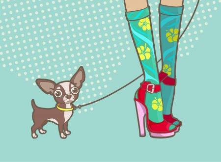 mooie vrouwelijke benen en een kleine hond