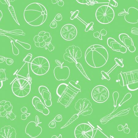 Naadloze patroon van gezonde levensstijl pictogrammen en elementen