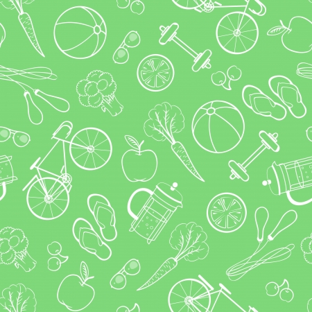 broccoli: Seamless pattern of healthy lifestyle icons and elements