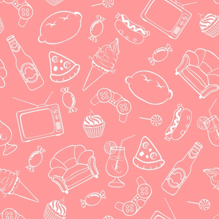 Seamless pattern of unhealthy lifestyle icons and elements Illustration