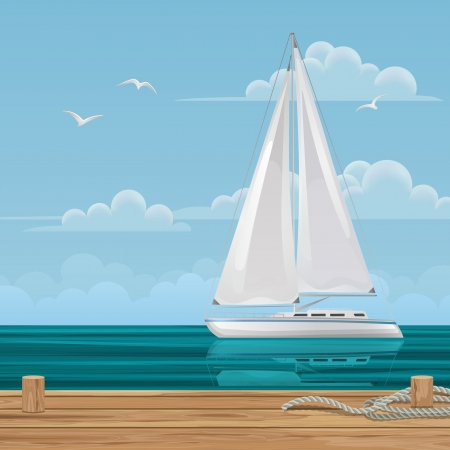 Sailboat off the Pier Illustration