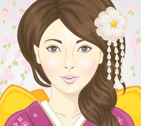 donna giapponese: Bella donna giapponese Ritratto Vettoriali