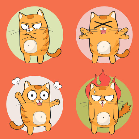 Set of cute cartoon cat in various poses Stock Illustratie