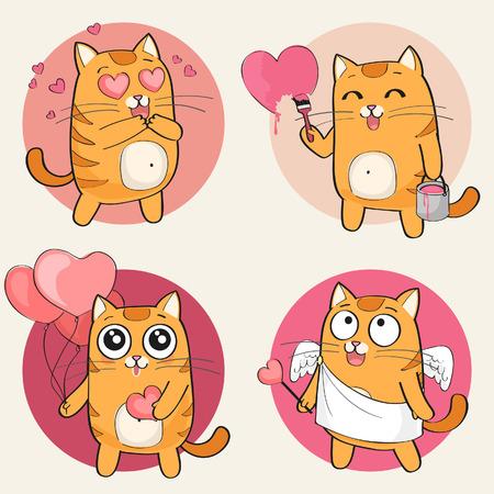 cat cartoon: Set of cute cartoon cat in various poses Illustration