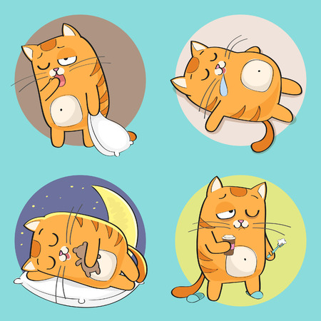 Set of cute cartoon cat in various poses Çizim