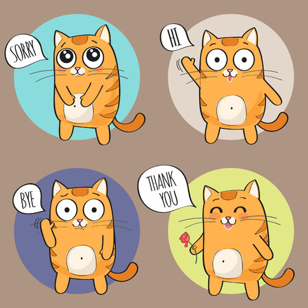 Set of cute cartoon cat in various poses Ilustração
