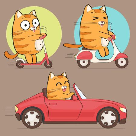 gato caricatura: Carácter lindo gato Vectores