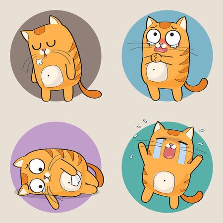Set of cute cartoon cat in various poses Illustration