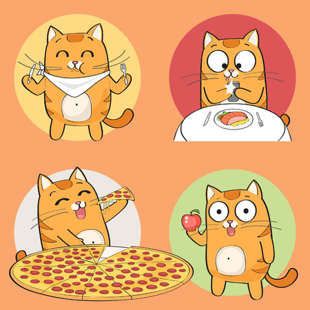 Set of cute cat character having food