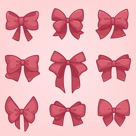 bow knot: Set of pink gift bows with ribbons