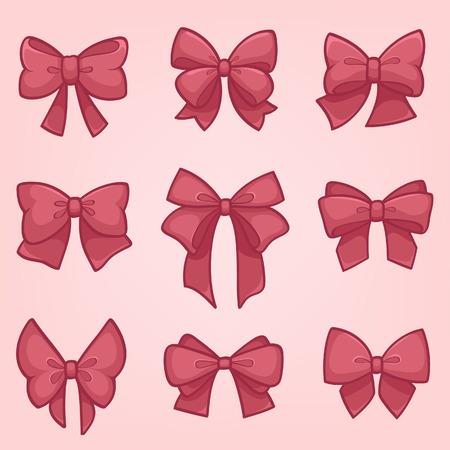 Set van roze geschenk strikken met linten Stock Illustratie