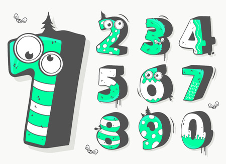 odd: Vector illustration of a numbers set in fun design Illustration