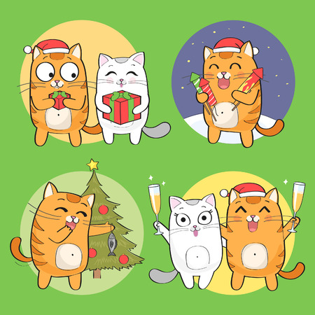 Set of cute christmas cat character Illustration
