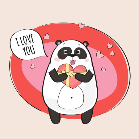 Cute panda in love