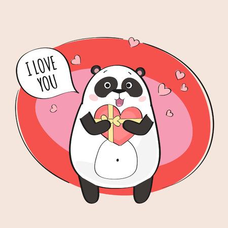 oso panda: Panda linda en el amor Vectores