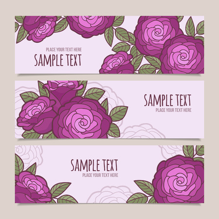 Set of horizontal vector banners with flowers Illustration
