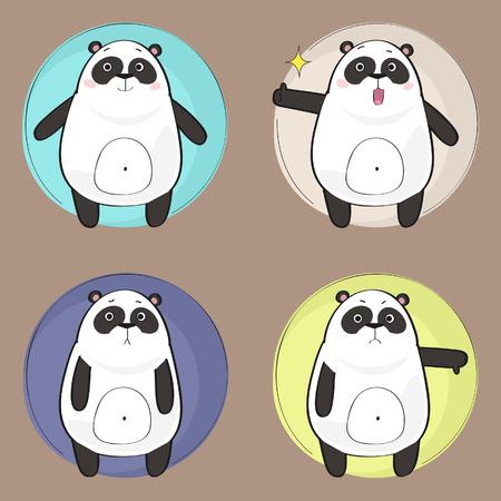Cute Panda Character Illusztráció