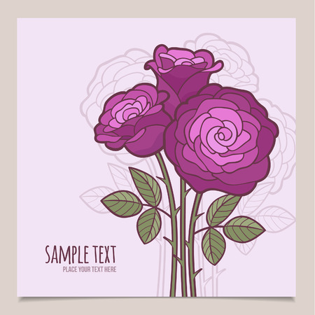 Square vector banner with flowers