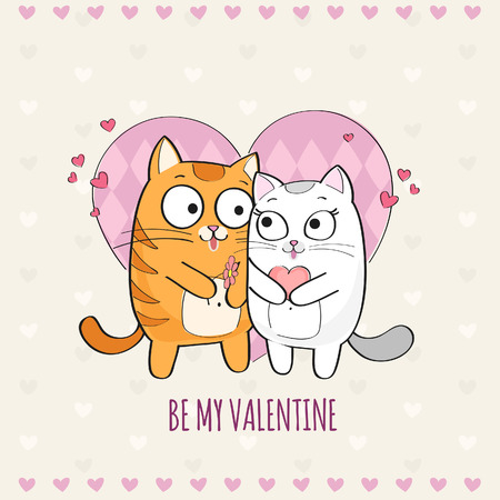 Happy Valentines Day card with cute Cats Illustration