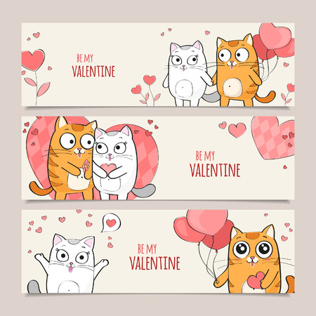 hand drawn cartoon: Set of Valentines Day horizontal vector banners with cute cats Illustration
