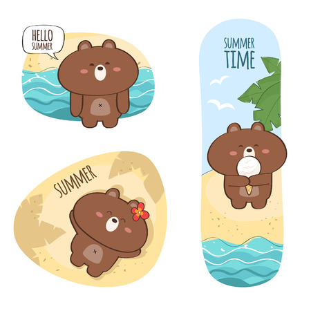 Summer vacation sticker set with cute bear character Illustration
