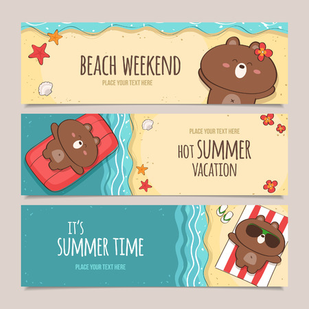set of horizontal banners with cute bear character enjoying summer vacations on the beach Vector
