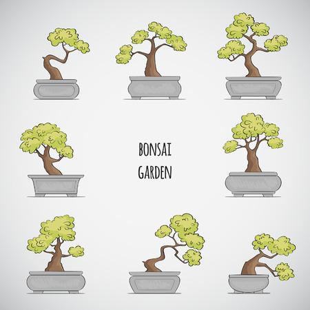 Sketched Bonsai tree set