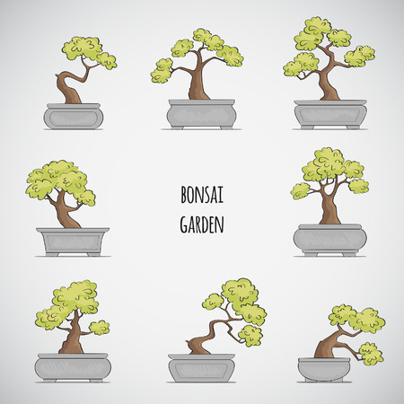 Sketched Bonsai tree set